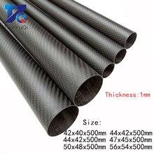 2 PCS 3K Carbon Fiber circular tube Thickness 1mm OD 42mm  44mm 47mm 50mm 56mm Carbon Fiber Hollow Tube for UAV Model Materials