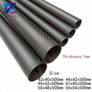 Image 1 - 2 PCS 3K Carbon Fiber circular tube Thickness 1mm OD 42mm  44mm 47mm 50mm 56mm Carbon Fiber Hollow Tube for UAV Model Materials