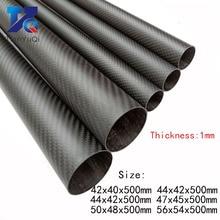 2 Pcs 3K Carbon Fiber Ronde Buis Dikte 1Mm Od 42Mm 44Mm 47Mm 50Mm 56Mm Carbon Holle Buis Voor Uav Model Materialen