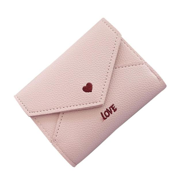 2e049ba1cd6 US $3.42 |Simple Love Short Wallet Coin Purse Card Holders Handbag Hasp  Black Blue Green Pink Women'S Wallet -in Wallets from Luggage & Bags on ...