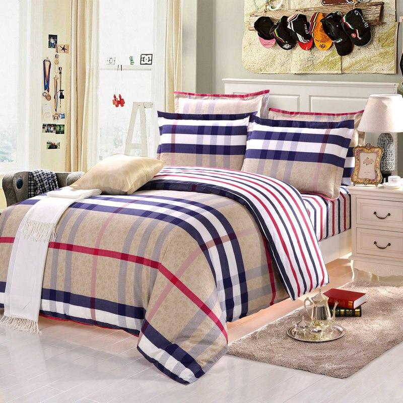 2016 newest 4pcs 100 cotton bedding sets striped bedding - King size bedroom comforter sets ...