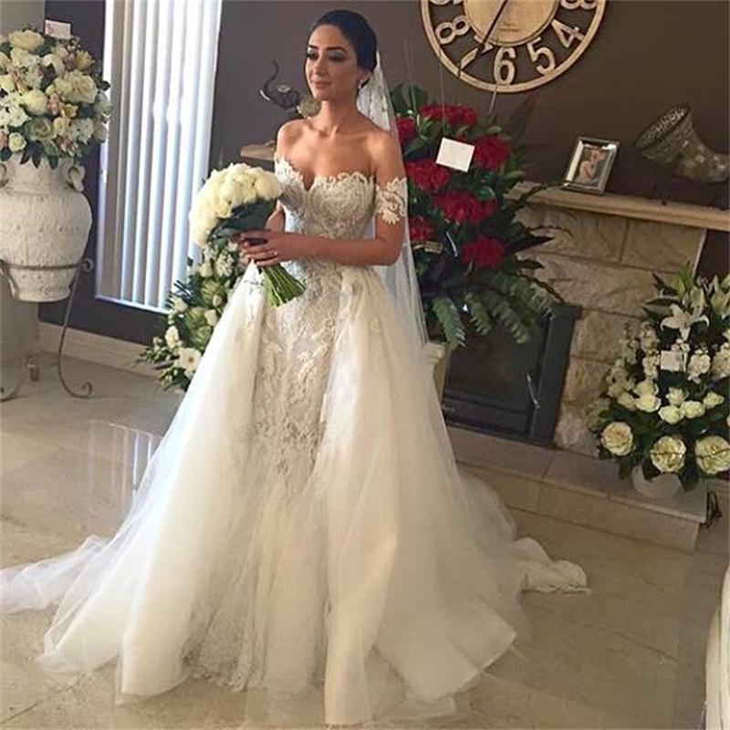 2016 Fashion Mermaid Design Off-Shoulder Appliqued Lace Wedding Dresses with Tulle Gown Sexy Backless vestidos de noiva