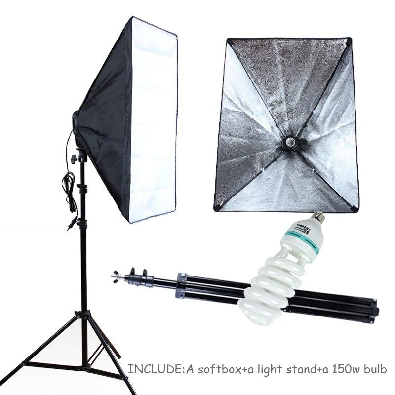 Photo Studio éclairage Softbox 50*70 cm Kit de photographie 100-240 v E27 support de lampe boîte souple avec 2 m support de lumière et 150 w ampoule