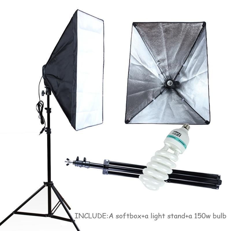 Photo Studio Lighting Softbox 50*70cm Photography Kit 100-240v E27 Lamp Holder Soft Box With 2m Light Stand&150w Bulb 1pc 150w 220v 5500k e27 photo studio bulb video light photography daylight lamp for digital camera photography