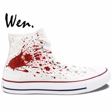 Wen Anime White Hand Painted Shoes Design Custom Tokyo Ghouls High Top Men Women's Canvas Sneakers Birthday Gifts
