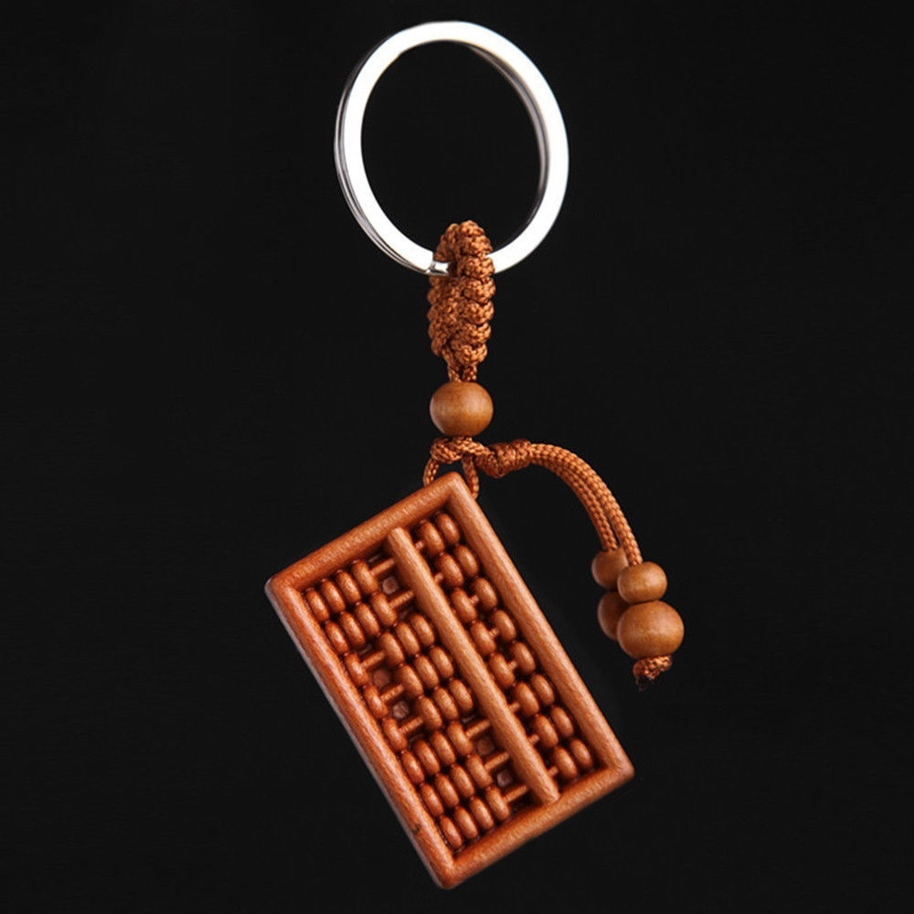1Pc Fashion Wood Key Chain Unisex Carved Abacus Shaped Car Key Ring Jewelry Accessories Bag Pendant Women Gift image