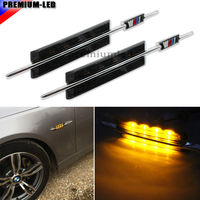 2pcs M Style Smoked Lens Side Marker Lamps With Amber LED Lights For BMW E46 3