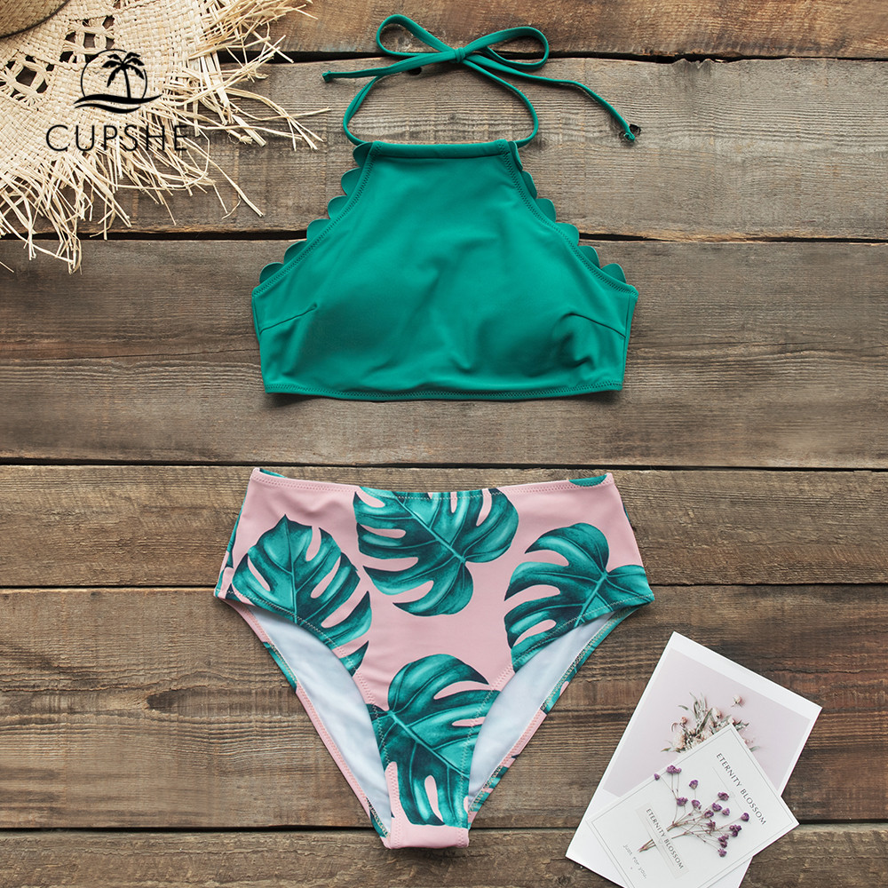 CUPSHE Teal And Palm Print High-neck Halter Bikini Sets Sexy Swimsuit Two Pieces Swimwear Women 2019 Beach Bathing Suits Biquini