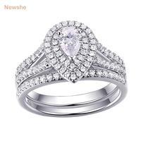 Newshe 1.2 quilates PEAR forma zirconia sólido 925 de plata esterlina boda anillo de compromiso de joyería clásica para las mujeres 1R0004