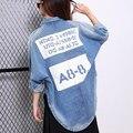 BringBring 2017 Весной и Осенью Письма Печатных Джинсовой Куртки Женщины Завышение Джинсовая Куртка для Женщин Причинно Vintage Одежда 1822