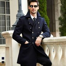 SIQILONG Brand 2016 Black Wool & Blends High Quality Coat Men Double Breasted Pea Coat Jacket Manteau Homme Long Trench Coat