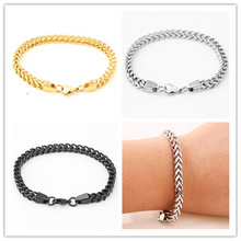 24cm*6mm Silver Gold Black Bracelet Men's Boy's Cuff Jewelry Wholesale 316L Stainless Steel High quality 6MM Figaro Square Chain