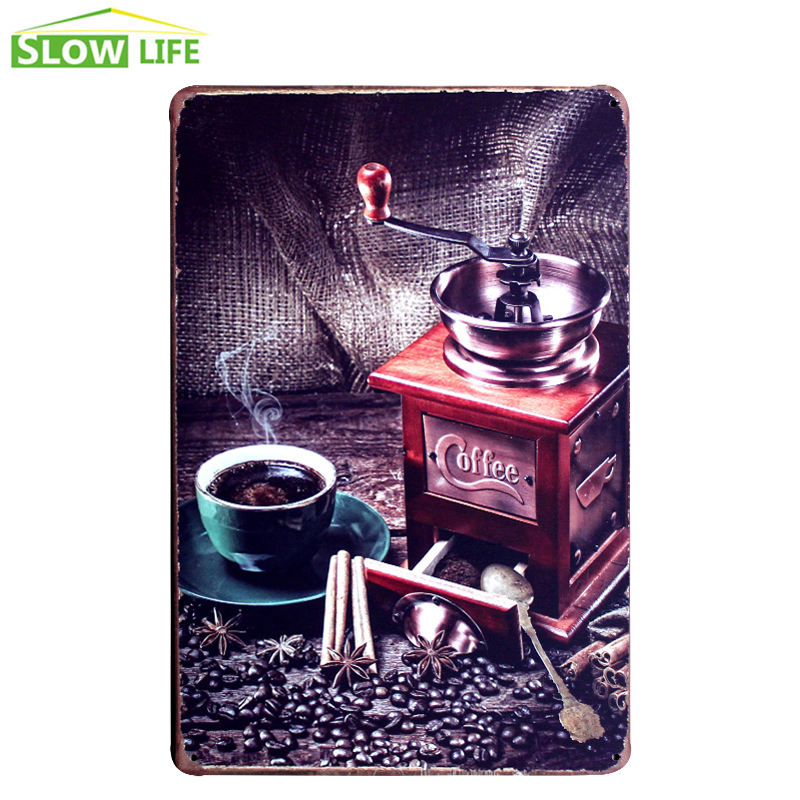 Coffee Grinder Metal Tin Sign Bar/Cafe/Hotel Wall Decor Metal Sign Vintage Home Decor Metal Plaque Retro Painting Art Poster