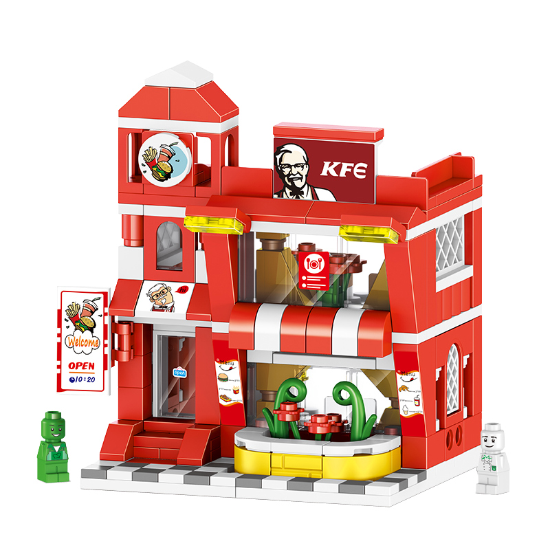 Mini Blocks Building Blocks Architecture DIY Bricks City Series Mini Street Model Modern cafe Assembly Toy Kid Gift model set