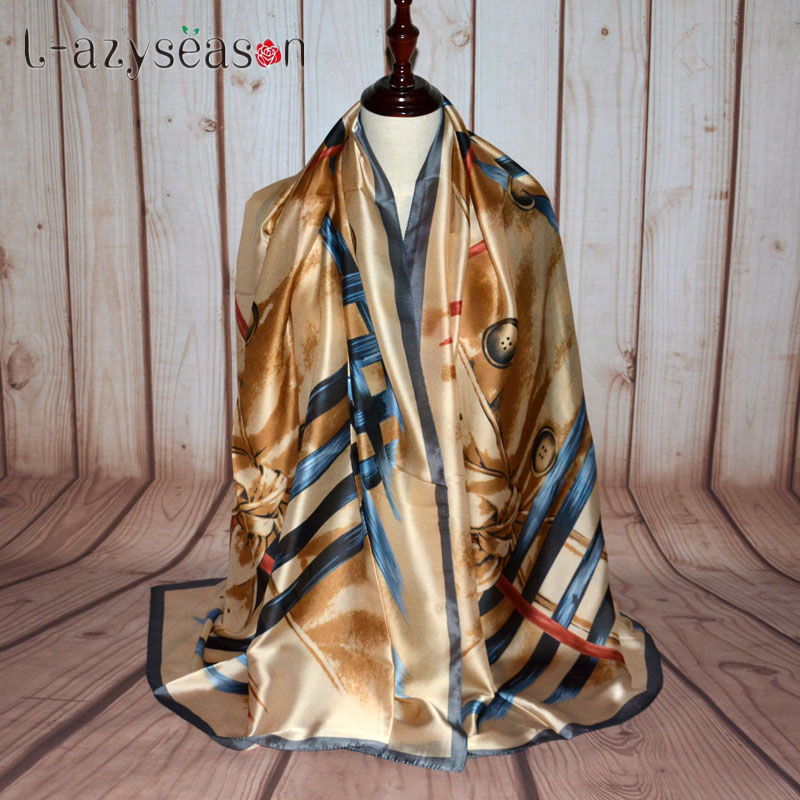 L-azyseason Fashion bandana 2018 newest Scarf Luxury Women Brand Scarves for Women Beach Shawl High Quality Print hijab wrap