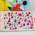 HAPPYXUAN 5 pçs/lote Cystal Diamante Adesivos Coração Do Amor Forma Redonda de Plástico DIY Materiais de Artesanato Crianças Brinquedos Meninas