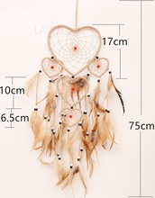 1pcFashion heart Feather Dream catcher handmade Wind Chime Indian Style ABS pearl Pendant hanging ROOM decoration