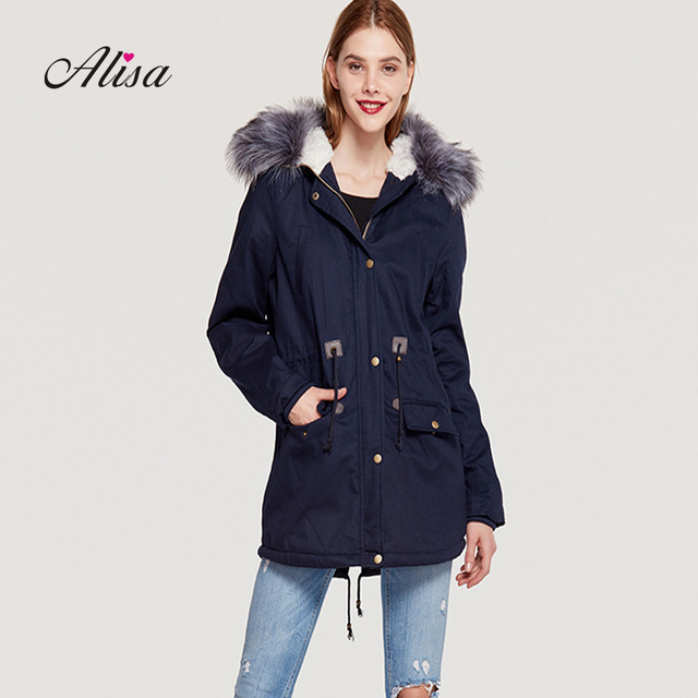 Women Padded Jacket 2018 New Winter Long Sleeve Faux Fur Collar