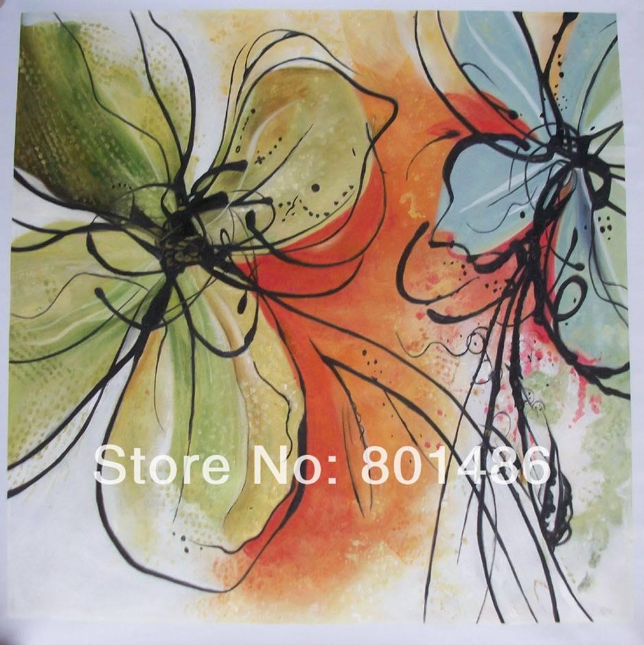 Современное искусство абстрактная картина маслом Ручная роспись абстрактная картина маслом с цветком