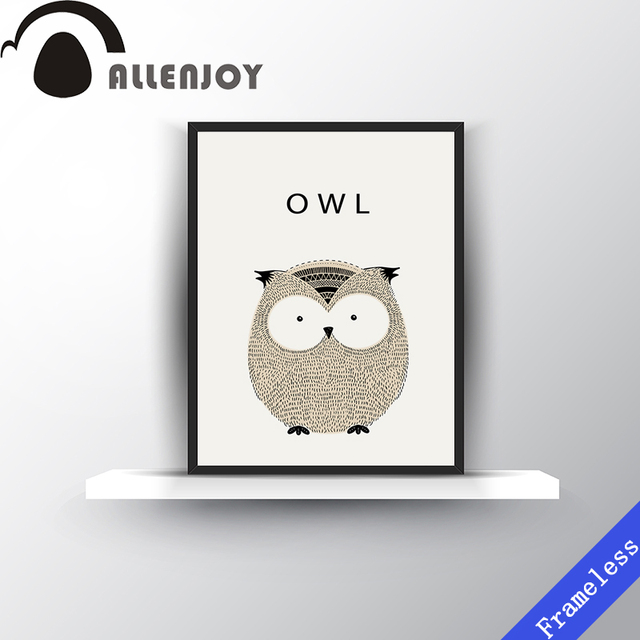 New Cartoon Cute Animal Owl Hand Draw Poster Decoration Oil Paintings Art Canvas Painting Wall Picture