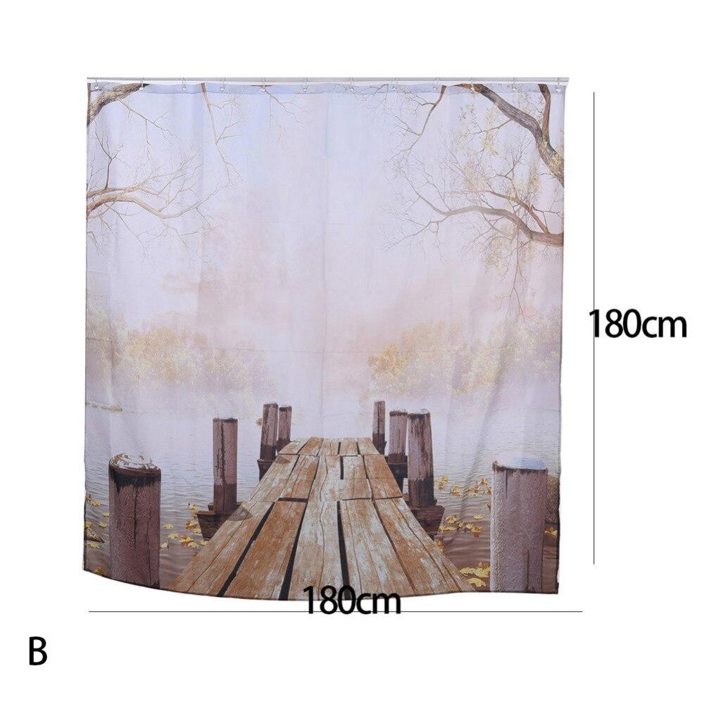 Waterproof Polyester Yellow Shower Curtain Fall Wooden Bridge Lake ...