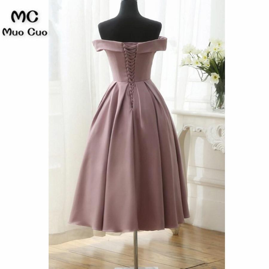 Dark Pink Tea Length Off Shoulder Satin Party Dress, Wedding Party Dress, Woman Formal Dress 201854