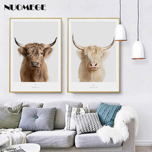 NUOMEGE Nordic Animal Yak Painting Wall Art Canvas Painting Nordic Posters and Prints Wall Pictures for Living Room Decor