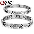 OPK New Fashion Lovers' Bracelet Stainless Steel + Imitated Diamond Healthy Magnetic Bracelets For Men Women Jewelry Gift GS3339