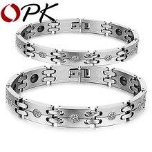 OPK Nuevos Amantes de la Manera Pulsera de Acero Inoxidable + Imitado Diamante GS3339 Sanos Magnéticos Pulseras Para Hombres Mujeres Regalo de La Joyería