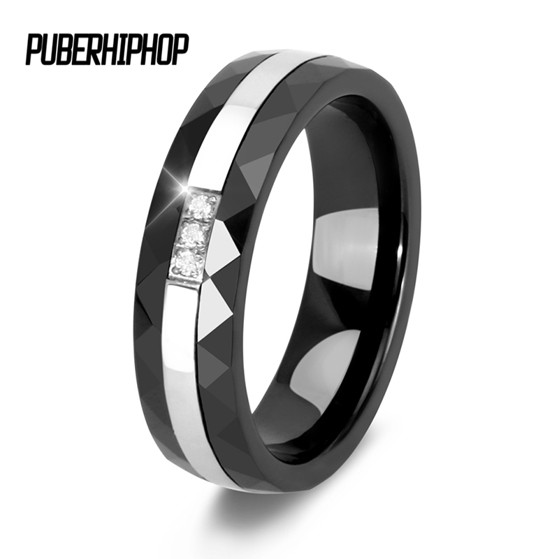 Freestyle Section Ceramic Rings With CZ Rhinestone anel feminino Never Fade Stainless Steel Rings For Women Engagement Jewelry