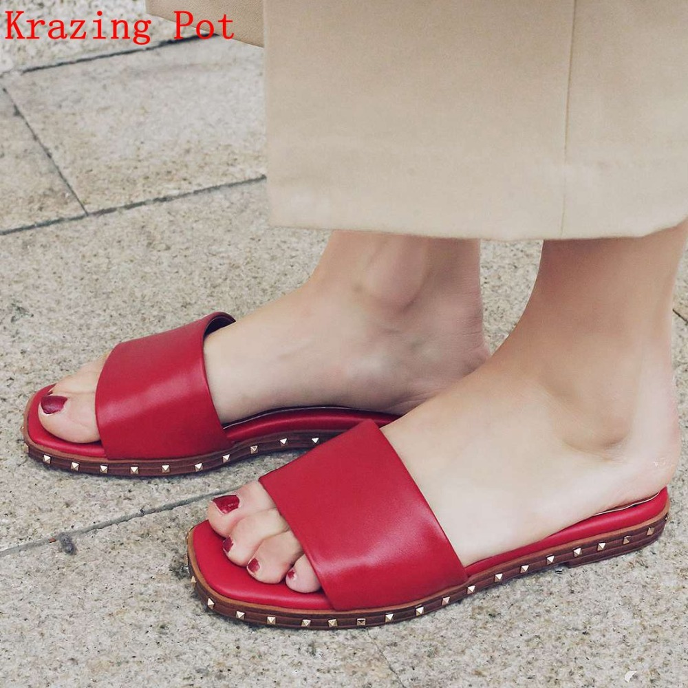 2018 new Genuine Leather Superstar Brand Shoes Solid Peep Toe Slip on Women Flats Slippers Rivets Preppy Style Summer Shoes L09 luxury brand shoes women peep toe