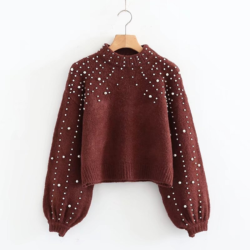 Danjeaner Pearl Turtleneck Autumn Winter Knitted Sweater Women Lantern Sleeve Loose Solid Pullover Girls Soft Warm Casual Jumper
