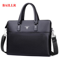 BAILLR A4 File Handbag Genuine Leather Business Mens Office Bags Casual Shoulder Bag Famous Brand Luxury