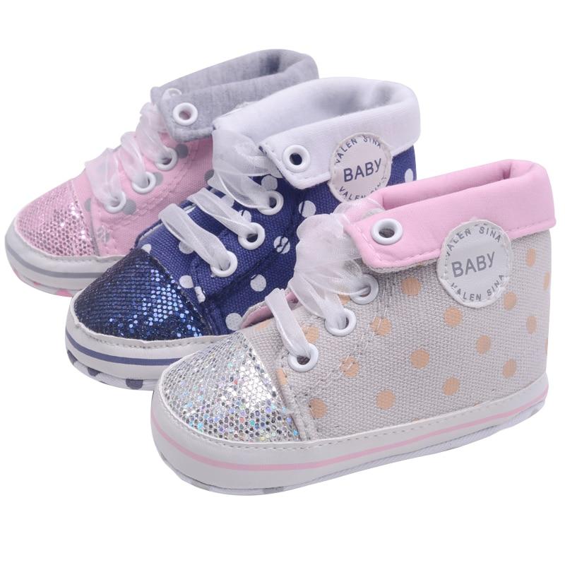 Csecsemő újszülött lányok fiú csillogó pöttyös Őszi csipke-up első gyalogos cipők cipők imádnivaló ribbonToddler vászon cipő