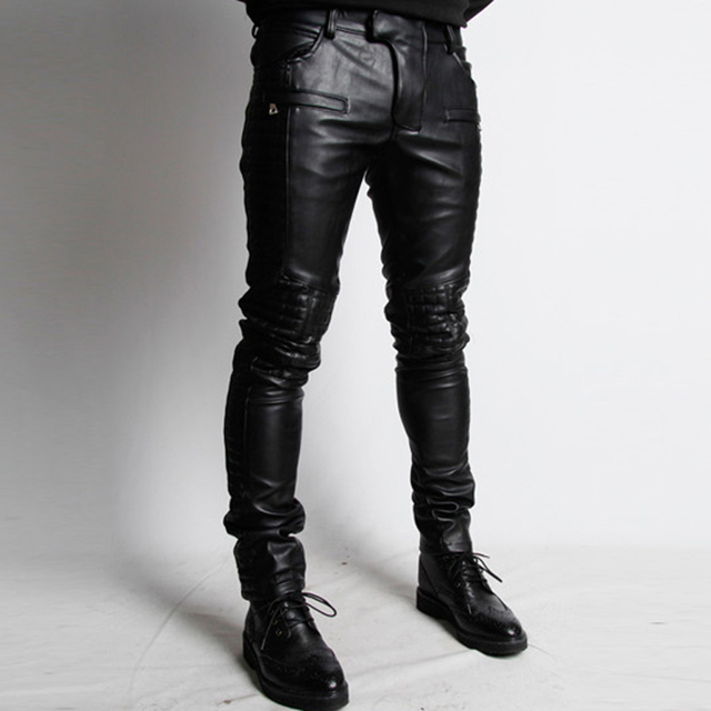 759401e7bcc07 Men s Handsome Black Leather Pants Singer Fashion Rock Trousers Conical GD  Costume Leather Pants