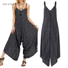 Backless Sexy Jumpsuit Women Summer 2019 Striped Strap Casual Plus Size Female Boho Cotton Womens Romper 3XL
