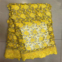 2017 New Design High Quality YELLOW COLOR African Tulle Lace Fabric 5Yard 2017 African Guipure Lace Fabric With Stones