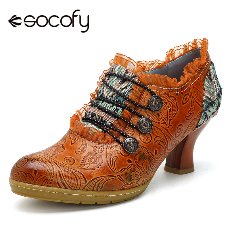 все цены на Socofy Vintage Genuine Leather Pumps Women Shoes Retro Bohemian Spring Autumn Zipper Lace Brim Ankle Pumps Ladies Shoes Heels