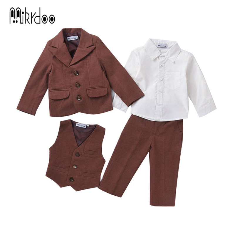 Baby boy clothes kids blazers tuexdo formal suit wedding terno coat shirt vest pants gentleman clothing set children costume hot kids clothing set plaid shirt with grey vest gentleman baby clothes with bow and casual pants 3pcs set for newborn clothes