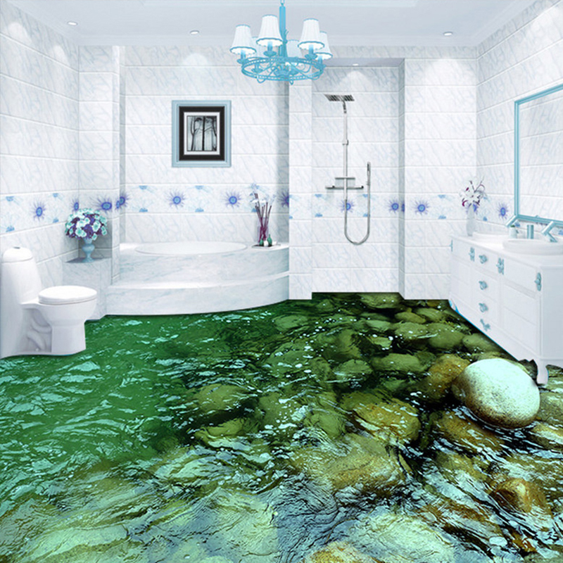 Custom Flooring Mural Wallpaper Hd Natural Scenery Stone Water Bathroom Kitchen Floor Sticker