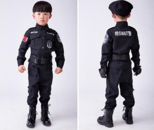 2162f1af2 Disfraces Trajes de Halloween Fantasia das crianças Meninos Trajes policiais  policial Cosplay uniformes de jogo Dos Miúdos