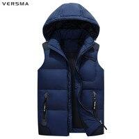 VERSMA Winter Hooded Brand Male Vest Colete Masculino Gilet Men Sleeveless Jacket Fleece Hunter Duck Down