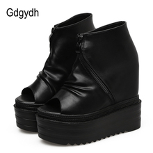 Купить с кэшбэком Gdgydh Summer Boots Leather Women Summer Shoes Platform Wedges 2019 New Arrival Open Toe Sexy Zipper Ankle Boots Female Discount