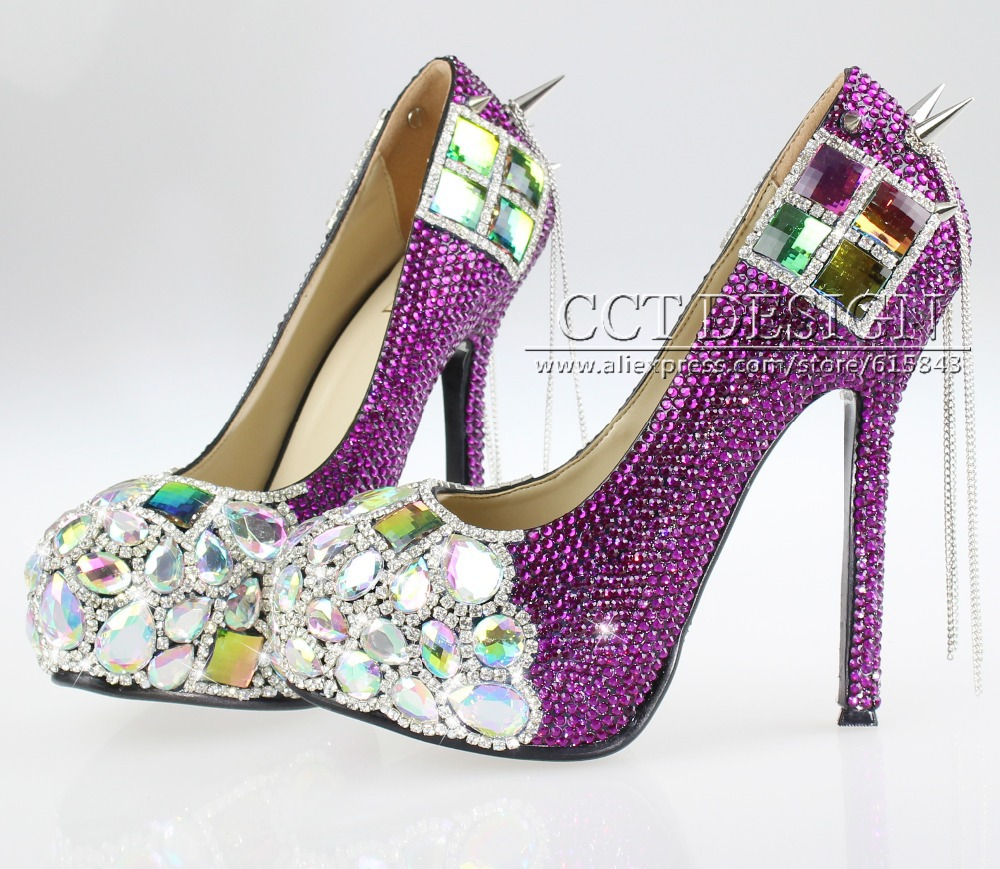 new design purple rhinestone wedding shoes rainbow spikes and ...