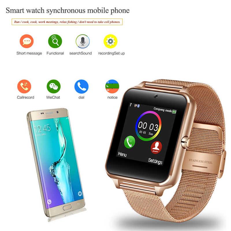 2019 Новые Bluetooth умные часы мужские спортивные Шагомер модные нержавеющие стальные «Умные» часы Поддержка SIM tf-карты камеры Android IOS