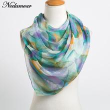 Мода листьев печати длинный шарф жоржет женщины шелковые шарфы новый 2017 Весной и Зимой девушки шаль echarpe из индии