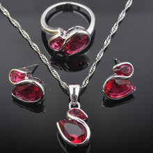Cute Rose Red Zirconia Women's Birthday Gift 925 Sterling Silver Jewelry Sets Earrings/Pendant/Necklace/Rings QZ0552(China)