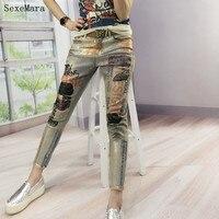 2017 New Hot Fashion Bronzing Printed Boyfriend Skinny Women Mujer Jeans Female Pencil Pants Vintage Pantalones