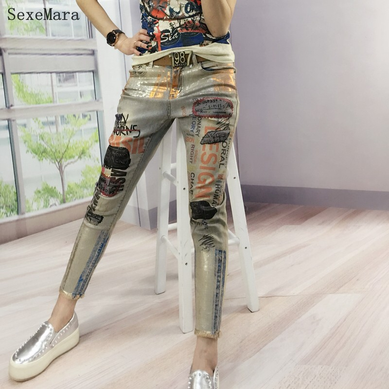 2018 New Hot Fashion Bronzing printed Boyfriend Skinny Women Mujer Jeans Female Pencil Pants Vintage Pantalones Vaqueros ladies boyfriend jeans women pencil pants trousers ladies casual stretch skinny jeans female mid waist elastic holes pant fashion 2016 page 9