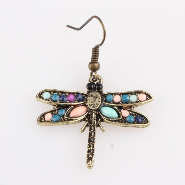 Trendy Charming Jewelry Dragonfly Shaped Woman Earrings Color Antique Bronze Drop Shipping EAR-0867